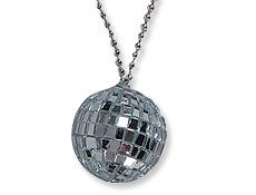 Silver Mirrored Disco Ball Necklaces Dozen