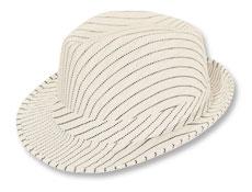 White Pinstripe Fedora