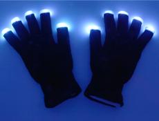 Black Light Up Gloves Pair