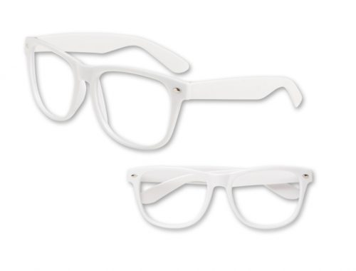 No Lens White Blues Brother Glasses