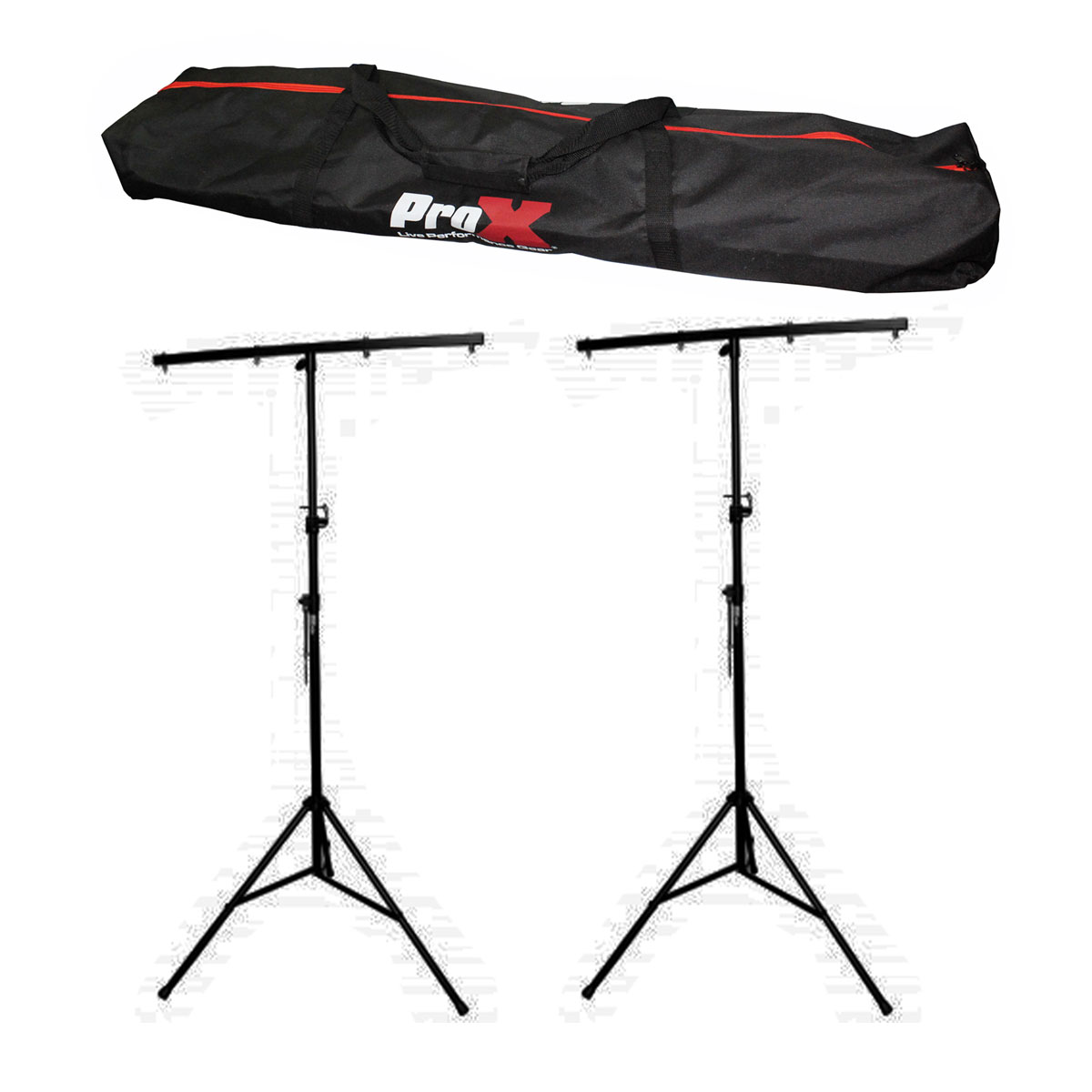 Dj lighting stand package w 2 stands square t bars carry case 9ft pro x aloadofball Choice Image